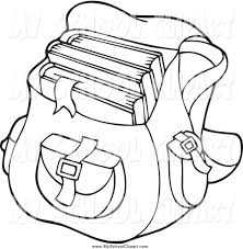 Clip Art of a Black and White Backpack School Bag by visekart 1642