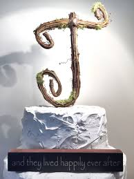 Letter J Rustic Twig Wedding Cake Topper