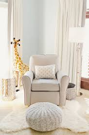 100 Rocking Chair With Pouf Minimalist Bedroom With White Faux Fur Rug And Baby Nursery