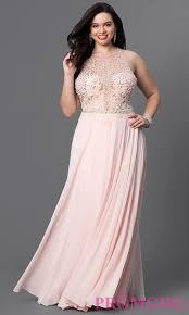 jeweled illusion bodice plus size prom dress promgirl