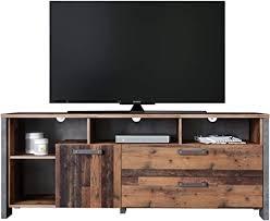 newfurn tv board betonoptik dunkelgrau wood tv lowboard vintage industrial 161x63 9x41 6 cm bxhxt tv schrank fernsehtisch rack two