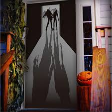 Gothic Walking Dead ZOMBIE VISITORS DOOR COVER MURAL Halloween Haunted House Costume Party Decoration Apocalypse Horror