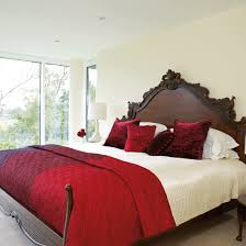 Stylish Red And Cream Bedroom