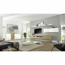 details zu design wohnwand anbauwand set sideboard tv lowboard hängeschrank hochglanz weiß