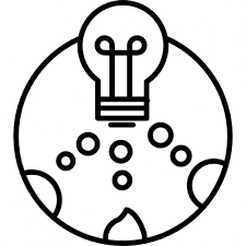 light bulb in a circle with small circles icons free