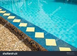 decorative swimming pool edge vintage tiles stock photo 311818811