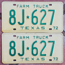 100 Truck License 1972 Texas FARM TRUCK License Plates 8J627 NOS PAIR EBay