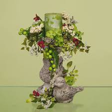 Spring Floral Green Centerpiece With Dove And Candle