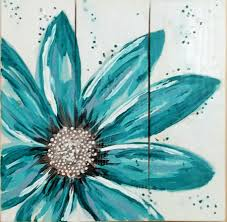 Turquoise Flower Original Art On Reclaimed Pallet Boards Measures 17 X Visit Our Etsy Shop ReClaimedPurposed