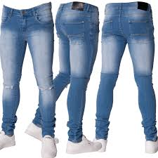 mens stretch light wash ripped skinny fit denim zip fly jeans by