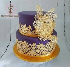 Purple And Gold Lace Wedding Cake