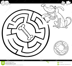 Printable Dog Bone Coloring Page Maze Black White Cartoon Illustration Education Labyrinth Game Children Sheets