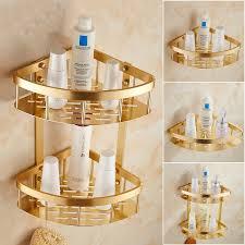 1 2 tier bad dreieck regal gold überzogen retro wand wc küche regal raum aluminium schicht ecke bad regale rack