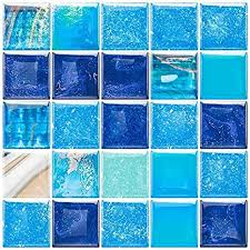 homeymosaic 5 fliesenaufkleber selbstklebend 3d fliesen zum aufkleben mosaikfliesen klebefliesen fliesendekor fliesenfolie küche badezimmer blau