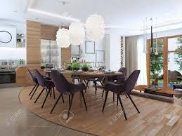 moderne wohnzimmer in einem loft stil mischen sanft in die küche und esszimmer große ecksofa regale mit dekorationen weichen stuhl mit einer