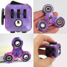 Mehechap Purple Galaxy Fidget Cube And Cute Hand Spinner Set Ceramic Stress Relief Plastic
