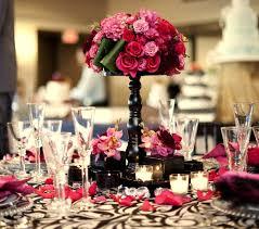 Encore Centerpieces Pink Floral Arrangement On Raised Black Center