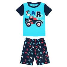 100 Monster Truck Pajamas Summer 2018 Childrens Sets Cotton Baby Girls Short Sleeved