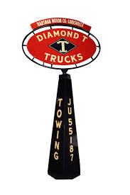 Incredible 1930s Diamond T Trucks Double-sided Dealership Pol