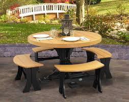5 Piece Dining Room Set With Bench by Poly Lumber 5 Piece Round Picnic Table With Benches