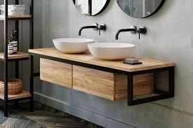 loft waschtischunterschrank aus teak metall schwarz spa ambiente