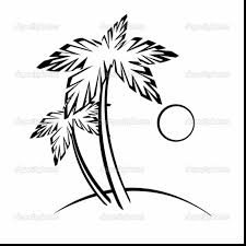 Astounding Palm Tree Beach Outline Drawing With Coloring Page And Date