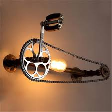 Wholesale Bicycle Gear Wall Lamps Industrial Style Iron Art Wall