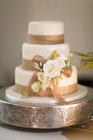 Rustic Wedding Cake With Burlap Trim