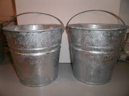 Chic Galvanized Buckets In Silver Made Of Steel With Handle For Outdoor Furniture Ideas