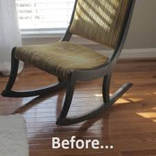 Before & After: Joy's Rocking Chair Redo | Apartment Therapy Hanover Manor 11piece Sling Outdoor Ding Set With Cspring Rockers Buy Whosale1pclot Natural Wood Hilton Garden Inn Arlington Tx Lovely And Comfy White Rocking Chair Royals Courage Diy Chairs 11 Ways To Build Your Own Bob Vila 6 Minimalist Cribs We Absolutely Love Motherly Office Star Padded Faux Leather Seat And Back Visitors Cherry Finish Frame Black Walnut Folding 30 For Sale On 1stdibs Rockingchair At Modern Interior Minimalist Steel 12 Steps Pictures Exterior Front Porch Decorating Ideas Using Amayah Patio