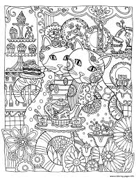 Adult Two Cute Cats Coloring Pages