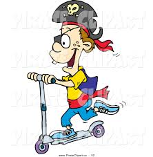 Vector Clip Art Of A Happy Pirate Boy Riding Scooter