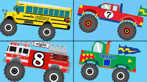 Monster Trucks Teaching Collection Vol. 1 - Learn Colors, Colours ... 100 Bigfoot Presents Meteor And The Mighty Monster Trucks Toys Truck Cars For Children Cartoon Vehicles Car With Friends Ambulance And Fire Walking Mashines Challenge 3d Teaching Collection Vol 1 Learn Colors Colours Adventures Tow Excavator The Episode 16 Tv Show Monster School Bus Youtube