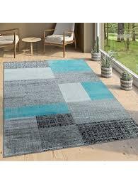 paco home designer wohnzimmer teppich modern kurzflor karo design grau schwarz weiß klingel