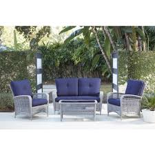 Cosco Lakewood Ranch 4-Piece Gray Resin Wicker Patio Conversation Set With  Coffee Table And Navy Blue Cushion Outdoor Wicker Chairs Table Cosco Malmo 4piece Brown Resin Patio Cversation Set With Blue Cushions Panama Pecan Alinum And 4 Pc Cushion Lounge Ding 59 X 33 In Slat Top Suncrown Fniture Glass 3piece Allweather Thick Durable Washable Covers Porch 3pc Chair End Details About Easy Care Two Natural Sorrento 5 Cast Woven Swivel Bar 48 Round Jeco Inc W00501rg Beachcroft 7 Piece By Signature Design Ashley At Becker World Love Seat And Coffee Belham Living Montauk Rocking