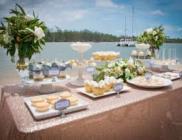Elegant Beach Christmas Wedding Table And Dessert