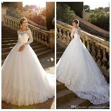 2017 Bateau Modesty Lace Wedding Dresses Long Sleeve Crystal Belt Princess A Line Dress Plus Size Bridal Gowns Garden Chapel Train