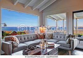 wohnzimmer modern sofa grau groß wasser ansicht