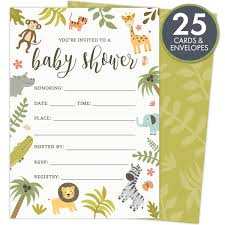 Safari Baby Shower Invitations Set Of 25 FillIn Style Cards And Envelopes Jungle Theme With Monkey Giraffe Elephant Lion And Zebra Printed On