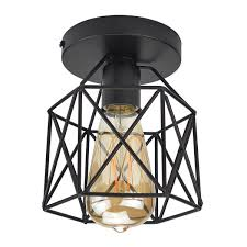 Lysed SemiFlush Mount Ceiling Light E2627 Edison Bulb Industrial Vintage Style Black Wall Lamp For Hallway Study Room Office Bedroom Decoration