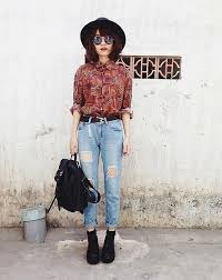 Printed Shirt Outfit For A Vintage Look Via