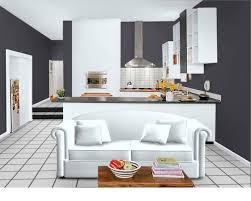 cuisine meubles blancs idée du rendu avec des meubles blancs et le gris sur les murs