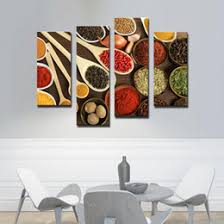 4 Picture Combination WALL ART Bowls With Different Spices Paintings Printed On Canvas The For Living Room Kitchen Decor