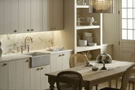 Farmhouse Chic Simple White Or Cream Cabinets Open Shelving And A Casual Dining Area