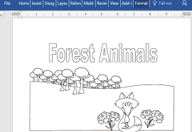 Animals Educational Coloring Book For Microsoft Word