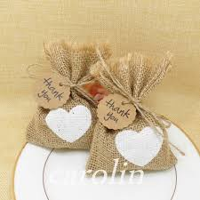 50pcs Burlap Bag Jute White Heart Gift Bags Candy With Thank You Tag Wedding Gifts
