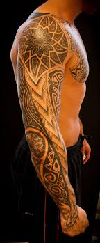 Men Chest And Sleeve Cover With Amazing Tribal Tattoo