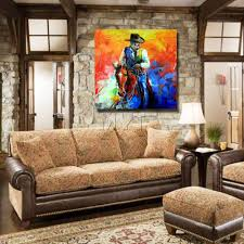 100 Pop Art Home Decor US 2361 43 OFFHandsome Man Ride Horse Wall Ation Modern Living Room Wall Handpainted Free Shipping Paintingin