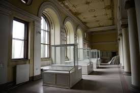 Empty Display Cases In The Archeology Section Of Bosnian National Museum Which Keepers Said