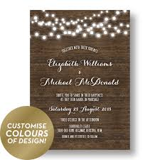 Rustic Wedding Invitations Australia Wood Fairy Lights